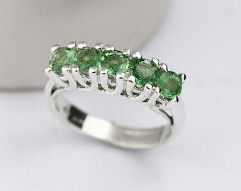 Natural Green Tsavorite Garnet Solid 14K White Gold wedding Ring