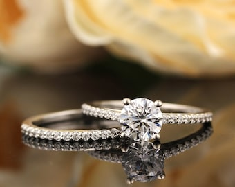 Certified  1 ct Forever One Moissanite Colorless Engagement Ring & Diamond Wedding band set, Vintage Floral style In 14k White Gold, Gem1403