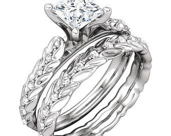 5mm 0.75ct Square Forever One (GHI) Moissanite Solid 14K White Gold  Sculptural Engagement Ring Set - ST232081*****Special*****