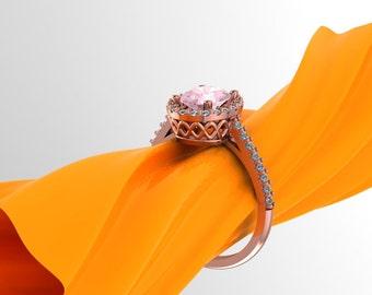 Natural Morganite Ring Set, Diamond Halo Morganite Engagement Halo Ring in 14k Roes gold, 8x6mm gemstone - eng398