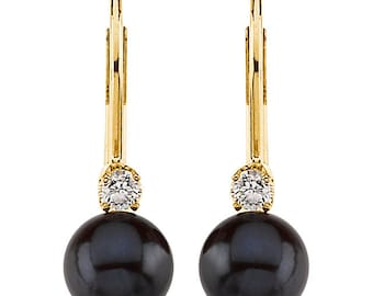 14K Yellow gold Black Akoya Cultured Pearl(6mm) & Diamond Lever Back Earrings-ST72152
