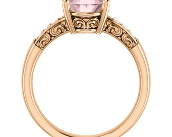 Natural AAA 10x8mm Oval  pink Oval Morganite  Solid 14K Rose  Gold Floral Style Diamond Engagement Ring Set ST82843