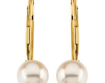 14K Yellow gold White  Akoya Cultured Pearl & Diamond Lever Back Earrings-ST72171