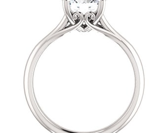 Certified  Forever One Moissanite Engagement Ring ,Round Brilliant Cut Diamond Simulant Wedding Ring In Solid 14K White Gold - Gem1459