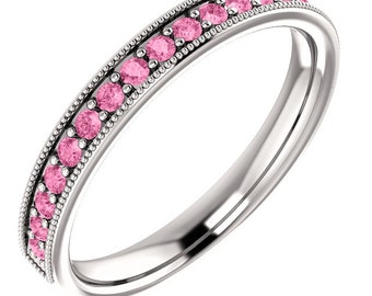 Stackable Half Eternity Pink Sapphire Milgrain Wedding Band Ring In 14k White Gold Size 7 - ST233025