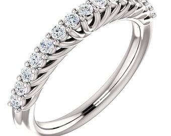14K White Gold Diamond Wedding Half Eternity Matching Band Ring-ST233725