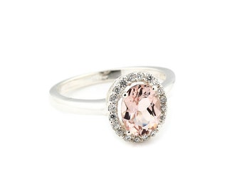 9x7mm Oval  cut  1.75 ct  Natural  Morganite Solid 14K White Gold Diamond Halo  Engagement Ring - Gem874