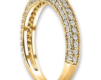 14K Yellow / White / Rose  Gold  Natural Round Diamond Wedding Band  Aniversary Ring ENS4143