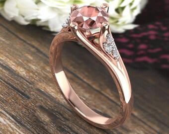 Natural Morganite & Diamond  Engagement Ring In 14k Rose Gold  Gem1620