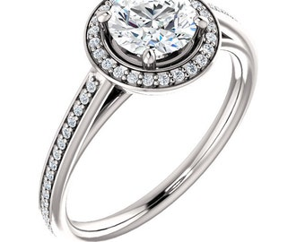 Certified center Natural White Sapphire Solid  14k white gold diamond Halo Engagement Ring Set ST82790