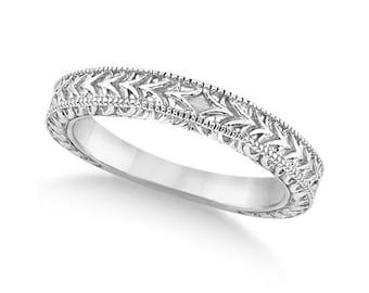 Antique Engraved Wedding Band w/ Filigree & Milgrain 14k White Gold ****Special for you*****-ENS2899