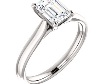 Certified  Forever One Moissanite Engagement Ring ,Emerald Cut Diamond Simulant Wedding Ring In Solid 14K white Gold