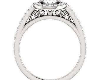Forever One  Moissanite 14K White Gold wedding Ring Set -ST233984 (Other metals & stone options available)
