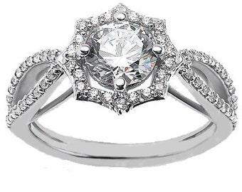 1/2ct 5mm Round Forever One (GHI) Moissanite Diamond Engagement Ring ENR0428