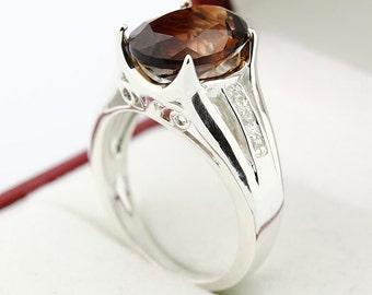 Dazzing Natural  Champagne orange Topaz 14K White Gold Diamond Ring