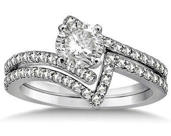 1 carat 6.5mm Round Forever One (GHI) Moissanite Solid 14K White Gold  Twisted Diamond Engagement Ring Set   -  ENS4118