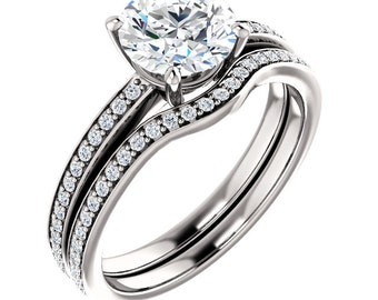 Certified Fever One  Moissanite 14K White Gold wedding Ring Set -ST233459 (Other metals & stone options available)