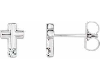 Diamond Cross Stud Earrings In 14k White/Yellow/Rose Gold, April Birthstone, Religious Earrings