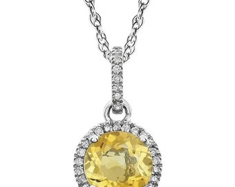 """14k White Gold Diamond Citrine Halo style Pendant Necklace, 18"""" ( Other Center Available)"""