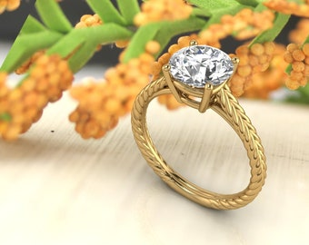 Solid 14K Gold 1.50 CT Round Moissanite (DEF) Fancy Rope  Style   Engagement Ring ,Diamond Ring ,Moissanite wedding ring  Gift For Her