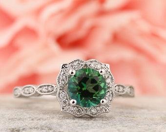Rainforest topaz & Diamond Engagement Ring, Vintage Floral style In 14k White Gold Gem1377