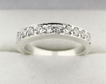 Natural Diamond Wedding Band Ring 14k White Gold