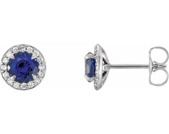 Natural Diamond & lab Created Blue Sapphire Halo Earrings In 14K White/Yellow/Rose Gold