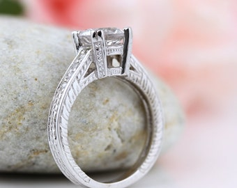 Stunning 7mm  White Sapphire Solid  14k white gold Antique Style Engagement Diamond  Ring