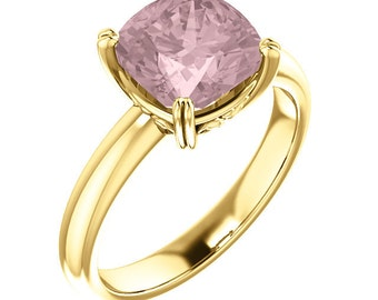 Natural AAA 8mm Antique Cushion Cut Morganite  Solid 14K Rose Gold Solitaire Engagement  Ring Set ST82828