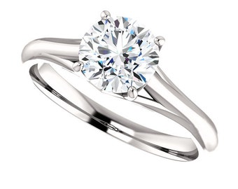 Certified Forever One Moissanite Engagement Ring ,Round Brilliant Cut Diamond Simulant Wedding Ring In Solid 14K White Gold-ST122089 -G9999