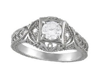 1/2 ct 5mm Forever One (GHI) Moissanite  Solid 14k white gold Antique Style diamond Engagement Ring- Ov93777