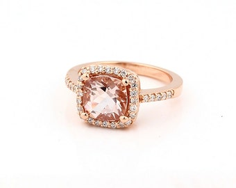 Natural Cushion Cut Morganite  Solid 14K Rose  Gold Diamond engagement Ring- Gem746