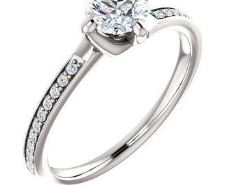 1/2ct 5mm Forever One (GHI) Moissanite Solid 14K White Gold   Engagement  Ring Set  - ST233469
