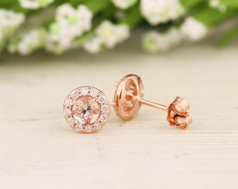14K Rose Gold Round Morganite & Diamond Ladies Halo Style Stud Earrings (Apprx. 1 cttw) (rose-gold, Morganite)