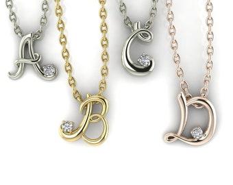 "14K Gold Moissanite Initial 16-18""  Necklace, Letter Necklace, Gold Moissanite Necklace, Moissanite Necklace"