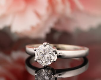 14k White Gold  Round Brilliant   Moissanite Colorless(EF)  Solitaire  Engagement Ring  -Anniversary Gift For Her - Gem609