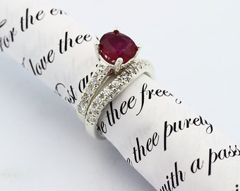 Natural Blood  Red Ruby  Solid 14K White Gold Diamond bridal Ring band set
