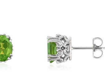 Natural Gemstone Fancy Scroll Stud Earrings In 14K Yellow Gold, White Gold or Rose Gold.Birthstone Earring