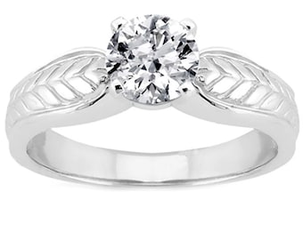 1 carat 6.5mm Forever One (GHI) Moissanite  14K White Gold  solitaire  Engagement  Ring - antique style - ENR3665