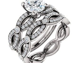 Forever One  Moissanite Solid 14K White Gold   Engagement  Ring Set  -ST233913