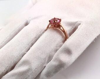 Genuine Pink Topaz SWAROVSKI GEMS™ Topaz Series 8mm Round  Fleur-de-Lis Ring In 14k Gold