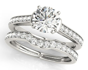 1ct  6.5mm  Forever One (Near-Colorless) Moissanite Solid 14K White Gold  Engagement  Ring Set  - OV61047