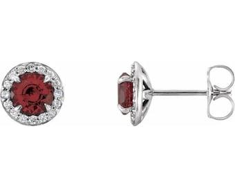 Genuine Red Garnet & Diamond Halo Earrings In 14K White/Yellow/Rose Gold