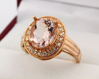 Stunning Natural 10x8mm Faceted Oval cut  Morganite  Solid 14K Rose Gold Diamond engagement Ring