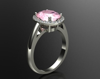 Natural AAA 10x8mm Oval  Morganite  Solid 14K White Gold Diamond engagement Ring Gem888