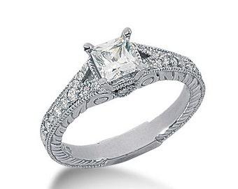 1 carat 5.5mm Square Forever One (GHI) Moissanite Diamond Vintage Engagement Ring ENR7807