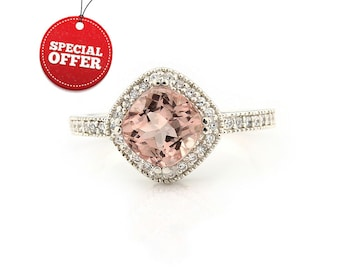 Natural  7mm  Antique Square Cushion Pink  Morganite  Solid 14K White Gold Diamond engagement antique Style  Halo Ring  ****Gem877
