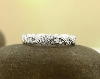 Antique Style 14K White/Yellow/Rose  Gold Full  Eternity Wedding Band Ring Aniversary Ring  ST232091