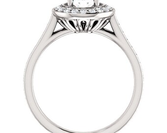 Certified center Natural White Sapphire Solid  14k white gold diamond Halo Engagement Ring Set  ST82782
