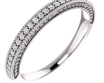 Antique Style Diamond Milgrain Wedding Band, Aniversary Ring In 14K White/Yellow/Rose  Gold  ST234138